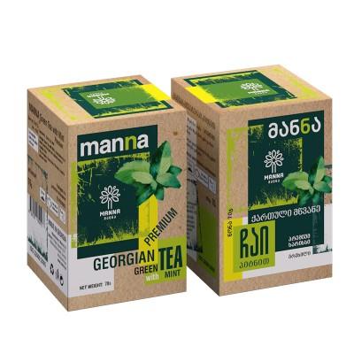 """""""მანნა"""" ქართული მწვანე ჩაი პიტნით 70 გრ."""